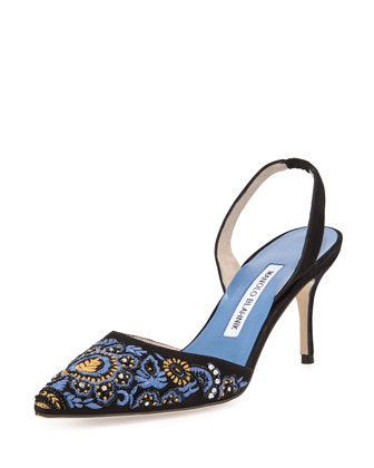 Carolyneric Embroidered Halter Pump