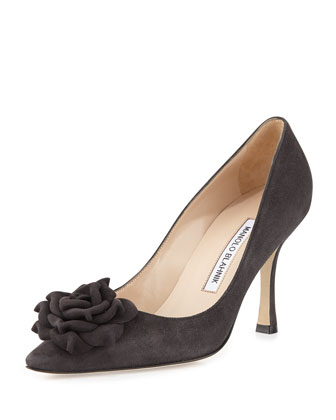 Lisawiflo Suede Flower Pump, Gray