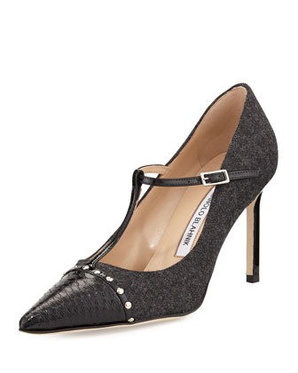 Vippina Combo T-Strap Pump, Black/Gray