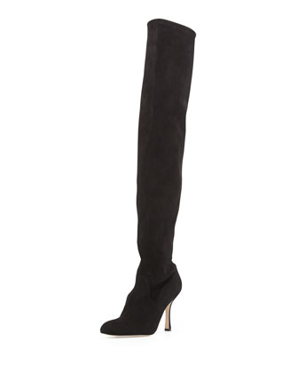 Pascaputre Suede Over-the-Knee Boot, Black