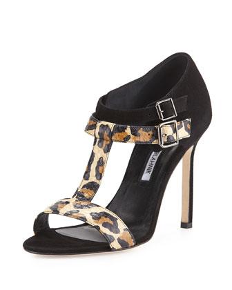 Amazca T-Strap Suede & Snake Sandal