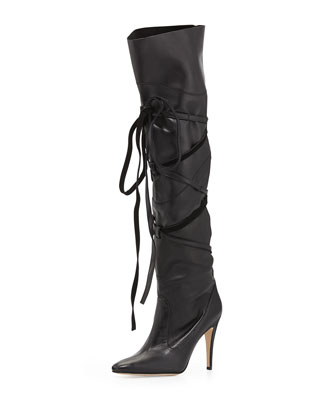 Cavaba Wrapped Leather Over-the-Knee Boot, Black