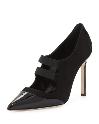 Prodita Mary Jane Cap-Toe Suede Pump, Black