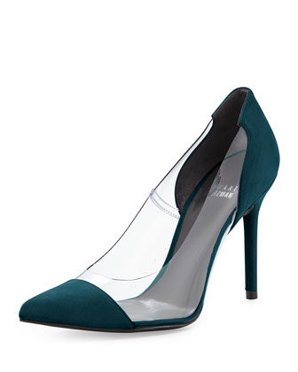 Onview PVC/Suede Pointed-Toe Pump, Caribe