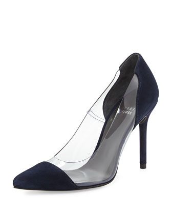 Onview PVC/Suede Pointed-Toe Pump, Nice Blue