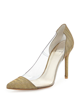 Onview PVC/Shimmer Fabric Pointed-Toe Pump, Old Gold