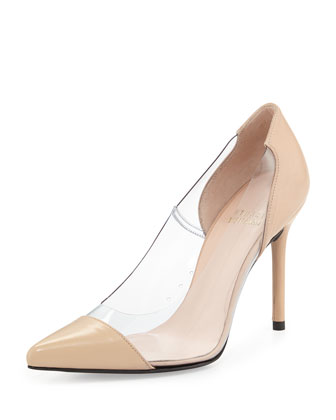 Onview PVC/Patent Pointed-Toe Pump, Adobe