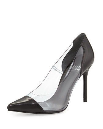 Onview PVC/Leather Pointed-Toe Pump, Black