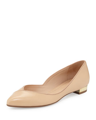 Niki Point-Toe Leather Flat, Light Oak