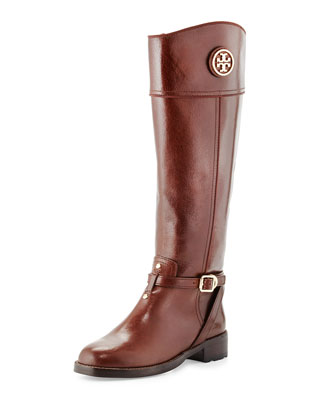 Teresa Logo Riding Boot, Almond