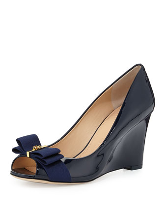 Trudy Patent Bow Wedge Pump, Bright Navy