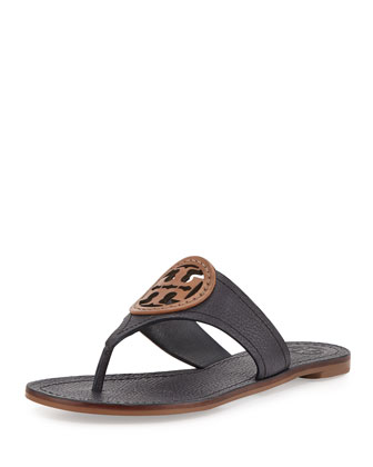 Louisa Logo Thong Sandal, Bright Navy