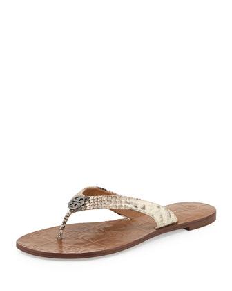 Thora Snake-Print Logo Thong Sandal, Natural