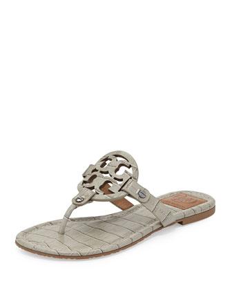 Miller Croc-Print Logo Thong Sandal, Ice Gray
