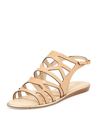 aster leather cutout sandal, natural