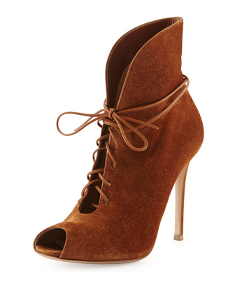 Suede V-Neck Lace-Up Bootie, Luggage