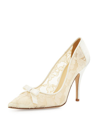lisa lace & satin bow pump, ivory