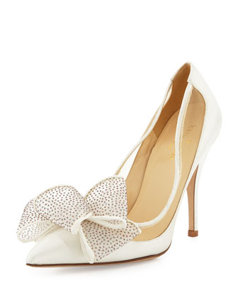lovely satin bow pump, ivory