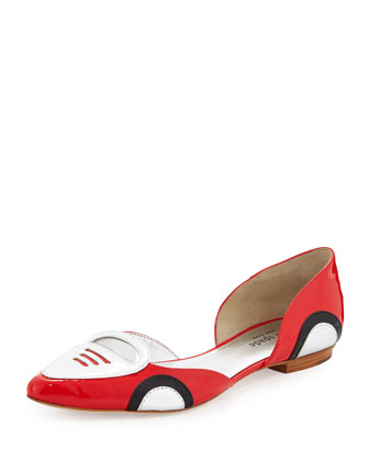 racer patent d'Orsay flat, maraschino red