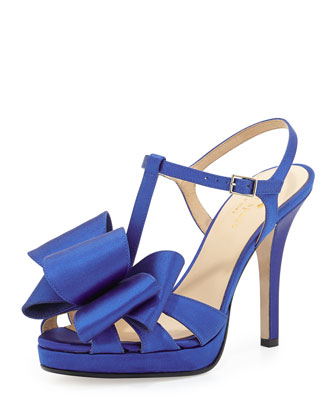 satin ribbon bow t-strap sandal
