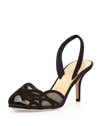 sarita mesh/suede halter-strap sandal, black