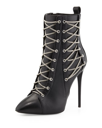 Chain-Trim Boxer Bootie, Black