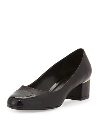 Livia Cap-Toe Block Leather Pump, Black