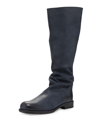 Fur-Lined Matte Soft Leather Knee Boot, Atlantico