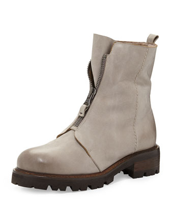 Zip-Front Mid-Calf Fur-Lined Boot, Stone