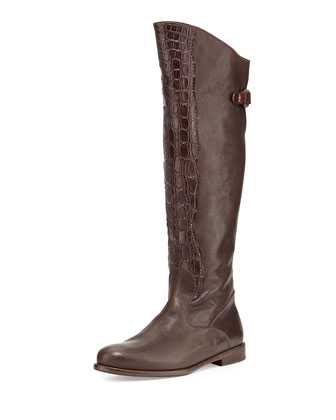 Crocodile & Leather Knee Boot, Dark Brown