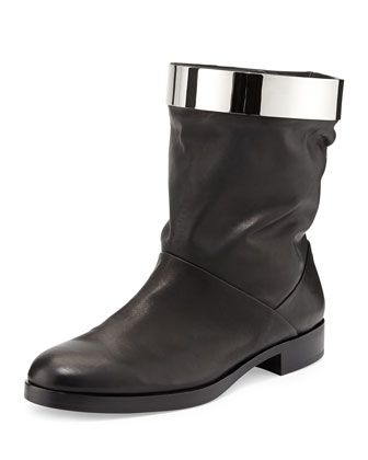 Metal Hoop Leather Boot, Black