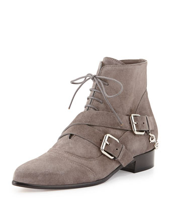 Bryon Suede Chain-Back Point-Toe Bootie, Gray