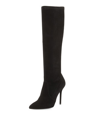 Benefit Stretch Suede Boot, Black