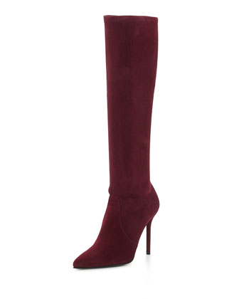 Benefit Stretch Suede Boot, Bordeaux