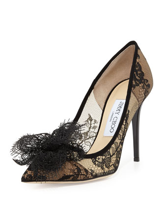 Duchess Lace Bow Pump, Black