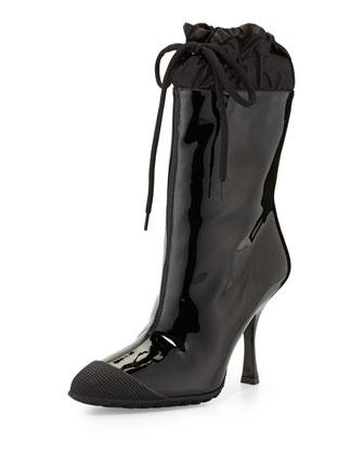 Patent Cap-Toe Rain Boot