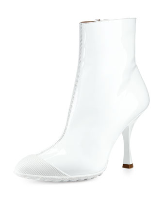 Patent Short Cap-Toe Rain Boot, White