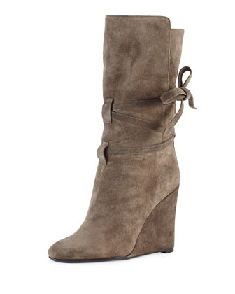 Wraparound Suede Wedge Boot, Mole Gray