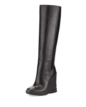Rubber-Wedge Knee Boot