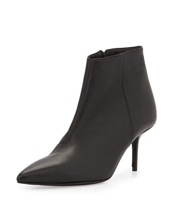 Low-Heel Pointed-Toe Bootie, Black