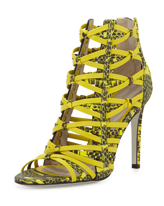Strappy Snake-Print Leather Sandal, Citron