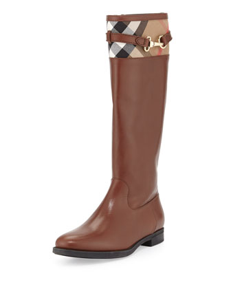 Check-Top Leather Knee Boot, Dark Tan