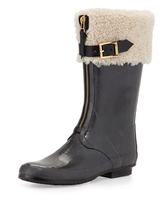 Shearling-Lined Rubber Rain Boot, Black