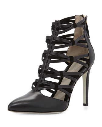 Strappy Leather Ankle Bootie, Black
