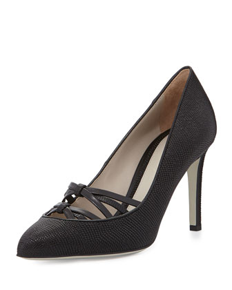 Lizard-Embossed Crisscross Pump, Black