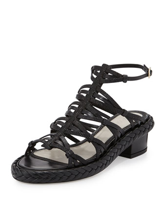 Strappy Embossed Leather Mid-Heel Sandal, Black