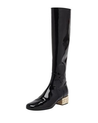Glitter-Heel Patent Knee Boot, Noir/New Platine