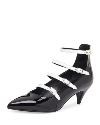 Patent Ladder-Strap Pump, Black/White