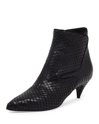 Snake-Embossed Low-Heel Ankle Boot, Noir