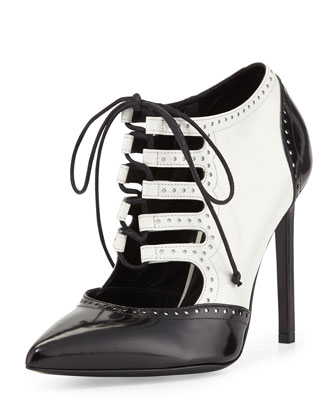 Lace-Up Saddle Pump, White/Black